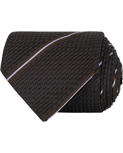 Canali Silk Striped 8 cm Tie Brown  i gruppen Accessoarer / Slipsar hos Care of Carl (15488510)