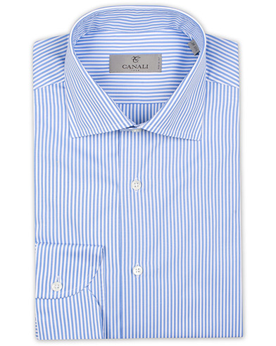 Canali Striped Cotton Shirt Light Blue i gruppen Kläder / Skjortor / Formella / Businesskjortor hos Care of Carl (15490211r)