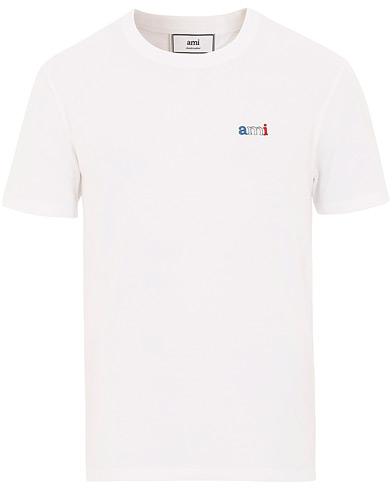 AMI Logo Tricolor Tee White i gruppen Kläder / T-Shirts / Kortärmade t-shirts hos Care of Carl (15497611r)