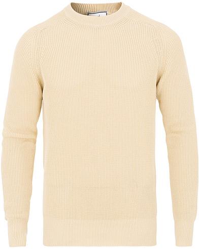 AMI Fisherman Rib Crew Neck Sweater White i gruppen Kläder / Tröjor / Stickade tröjor hos Care of Carl (15498411r)
