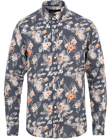 Morris Bradley Printed Flower  Linen Shirt Navy i gruppen Kläder / Skjortor / Casual / Linneskjortor hos Care of Carl (15507611r)