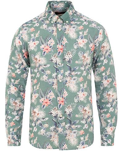 Morris Bradley Printed Flower  Linen Shirt Green i gruppen Tøj / Skjorter / Casual / Hørskjorter hos Care of Carl (15507711r)