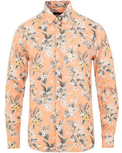 Morris Bradley Printed Flower  Linen Shirt Orange i gruppen Tøj / Skjorter / Casual / Hørskjorter hos Care of Carl (15507911r)