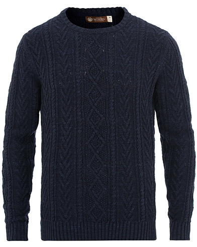 Morris Heritage Cable Sweater Navy i gruppen Tøj / Trøjer / Strikkede trøjer hos Care of Carl (15514411r)