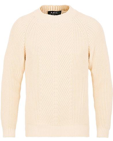 A.P.C Shinji Fisherman Knit Off White i gruppen Kläder / Tröjor / Stickade tröjor hos Care of Carl (15516111r)