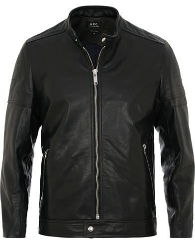 A.P.C Coffee Racer Leather Jacket Black i gruppen Klær / Jakker / Skinnjakker hos Care of Carl (15517311r)
