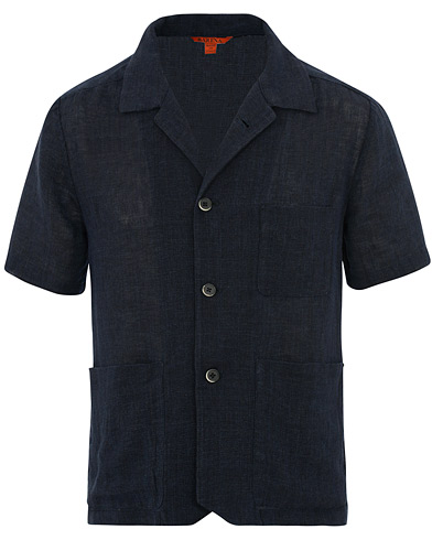 Barena Bota Short Sleeve Linen Over Shirt Navy i gruppen Klær / Skjorter / Casual / Kortermede skjorter hos Care of Carl (15518611r)