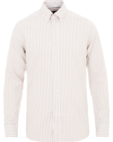 Eton Slim Fit Royal Oxford Stripe Button Down Beige i gruppen Tøj / Skjorter / Casual / Oxfordskjorter hos Care of Carl (15537611r)