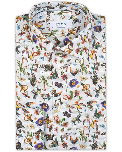 Eton Contemporary Fit Poplin Print Shirt White i gruppen Klær / Skjorter / Formelle / Businesskjorter hos Care of Carl (15538611r)