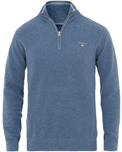 GANT Cotton Pique Half Zip Denim Blue i gruppen Klær / Gensere / Zip-gensere hos Care of Carl (15571711r)