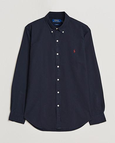 Polo Ralph Lauren Slim Fit Garment Dyed Oxford Shirt Navy i gruppen Tøj / Skjorter / Casual / Oxfordskjorter hos Care of Carl (15594011r)