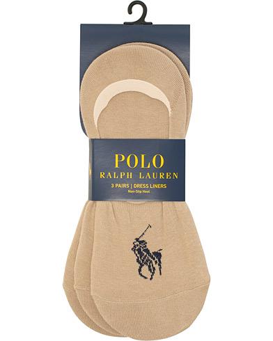 Polo Ralph Lauren 3-Pack No Show Big Pony Pony Socks Beige  i gruppen Klær / Undertøy / Sokker / Ankelsokker hos Care of Carl (15608010)
