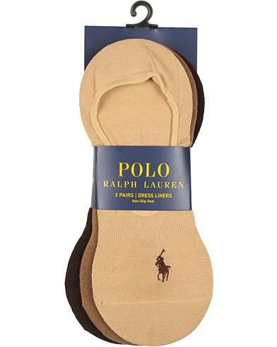 Polo Ralph Lauren 3-Pack No Show Dress Liners Pony Socks Beige  i gruppen Klær / Undertøy / Sokker / Ankelsokker hos Care of Carl (15608310)