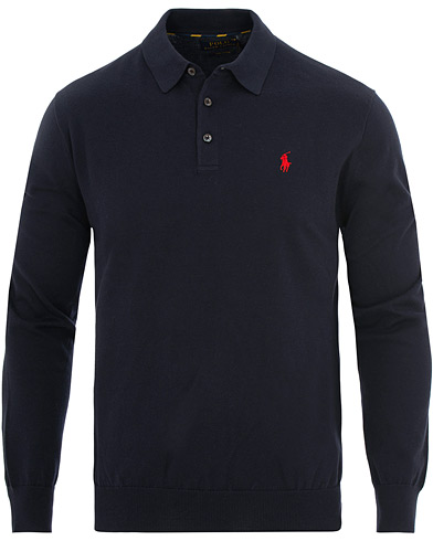 Polo Ralph Lauren Knitted Poloshirt Hunter Navy i gruppen Tøj / Trøjer / Pullovere hos Care of Carl (15612911r)