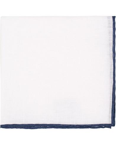 Amanda Christensen Linen Melange Handrolled Pocket Square Blue/White  i gruppen Assesoarer / Lommetørklær hos Care of Carl (15635510)