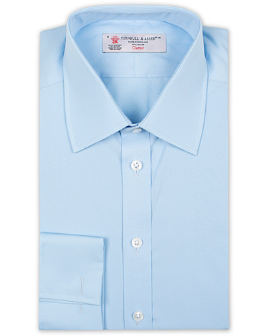 Turnbull & Asser Regular Fit Double Cuff Poplin Shirt Light Blue i gruppen Klær / Skjorter / Formelle / Formelle skjorter hos Care of Carl (15714111r)