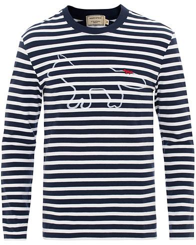 Maison Kitsuné Marine Striped Tee Fox Logo Print Navy/White i gruppen Klær / T-Shirts / Langermede t-shirts hos Care of Carl (15721611r)