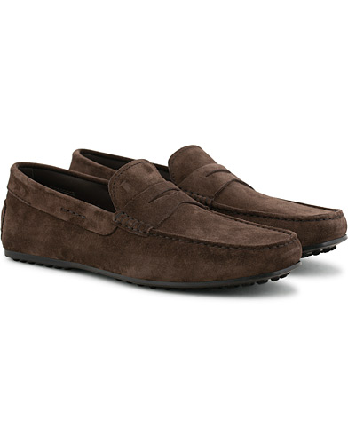Tod's City Gommino Loafer Dark Brown Suede i gruppen Sko / Loafers hos Care of Carl (15765911r)