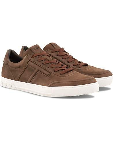 Tod's Cassetta Sportivo Sneaker Dark Brown Nubuck i gruppen Sko / Sneakers / Sneakers med lavt skaft hos Care of Carl (15766311r)