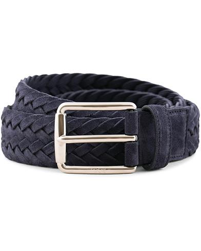 Tod's Intreccio Woven Belt Midnight Blue Suede i gruppen Assesoarer / Belter / Flettede belter hos Care of Carl (15766611r)