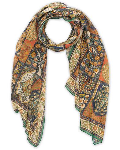 Drake's Cotton/Modal Patchwork Tapestry Scarf White  i gruppen Accessoarer / Scarves hos Care of Carl (15775610)