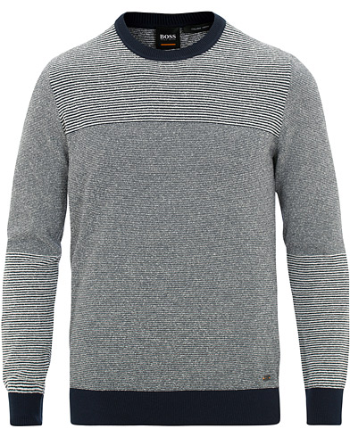 BOSS Casual Kapowe Structured Knit Sky Captain i gruppen Klær / Gensere / Strikkede gensere hos Care of Carl (15806511r)