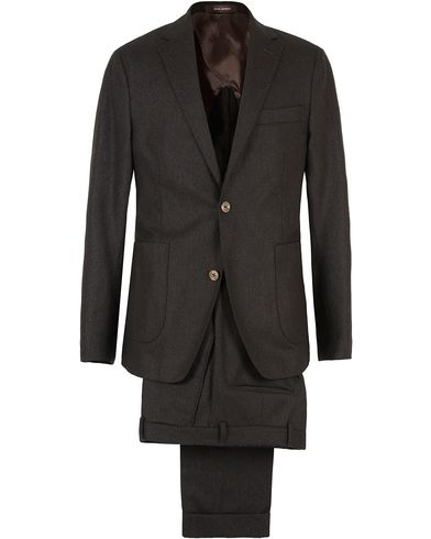 Oscar Jacobson Einar Flannel Suit Dark Brown i gruppen Kostymer hos Care of Carl (SA000166)