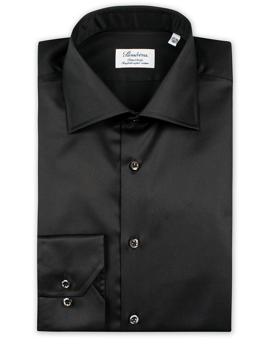 Stenströms Fitted Body Shirt Black hos CareOfCarl.com b025fc8592470