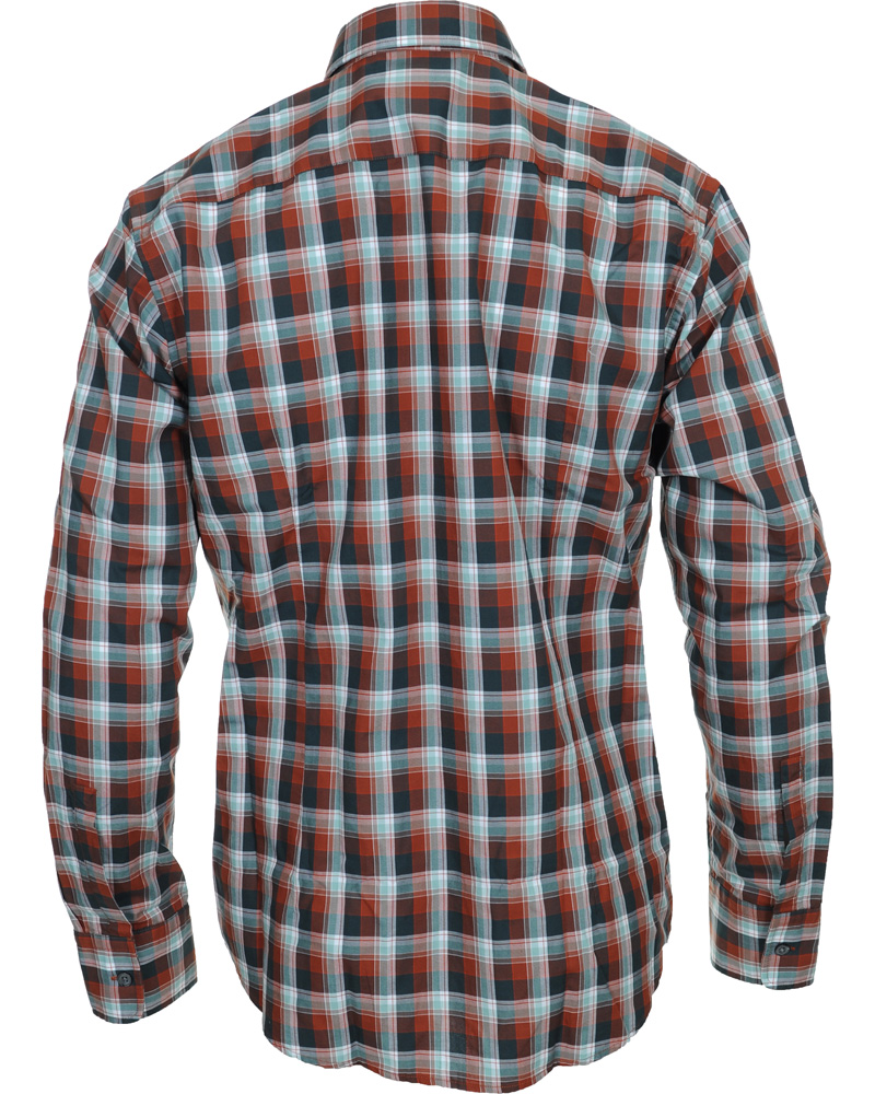 Boss ronny slim fit check shirt rust copper hos for Slim fit check shirt