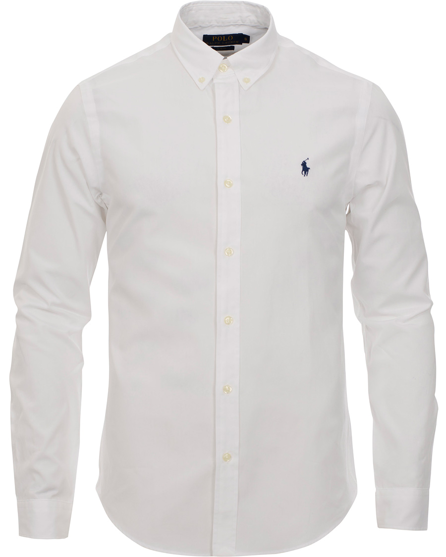 Polo ralph lauren slim fit shirt white hos for White fitted polo shirts