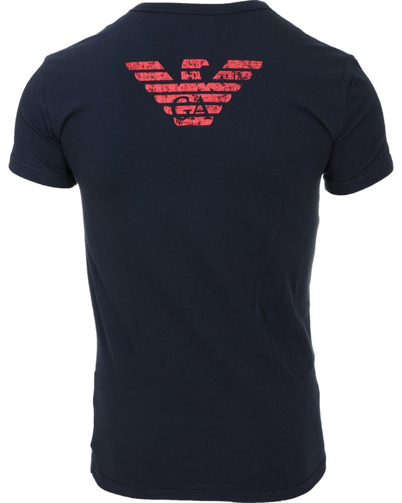 Emporio armani big logo v neck t shirt marine blue hos for Big blue t shirts