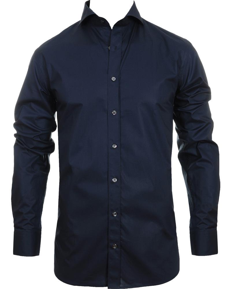 Oscar jacobson herman slim fit shirt navy blue hos for Navy slim fit shirt