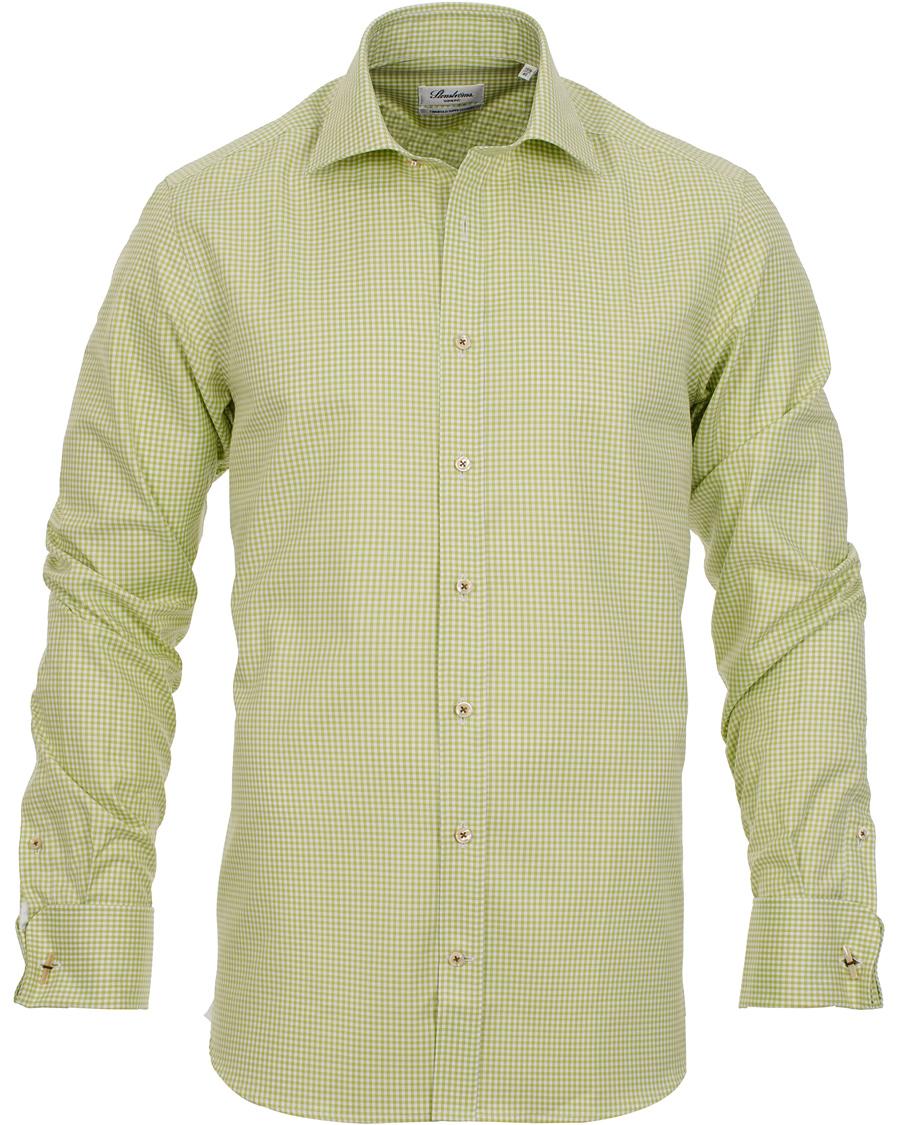 Stenströms Slimline Shirt Gingham Double Cuff Green hos CareOfCar 5e3a70ee78f29