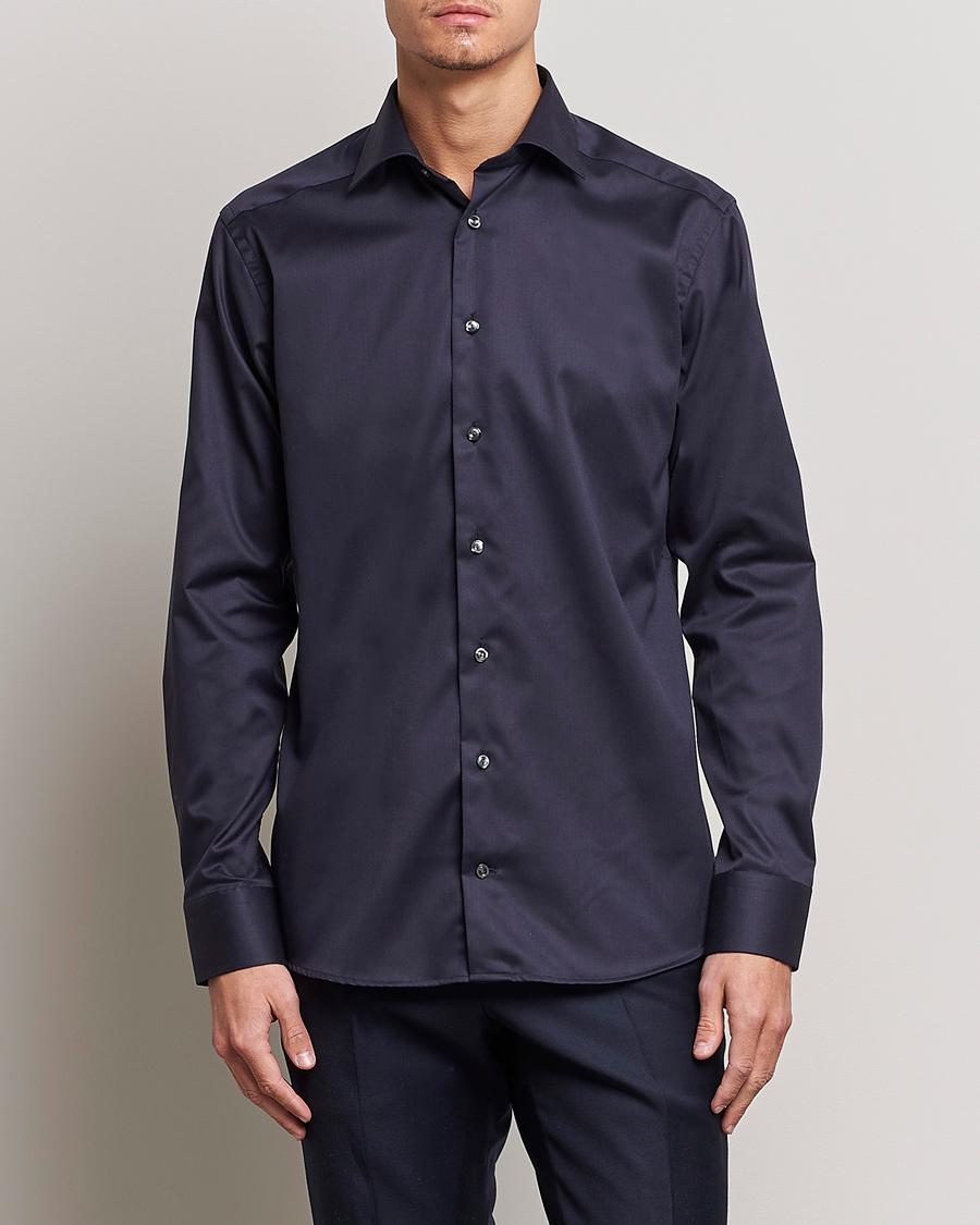 Eton slim fit shirt red ribbon stretch navy hos for Navy slim fit shirt