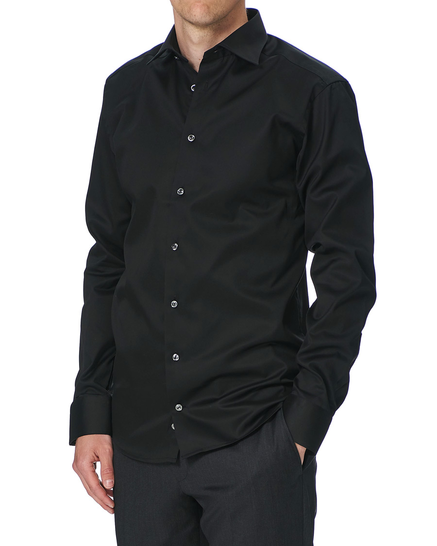Eton Slim Fit Shirt Red Ribbon Black Hos