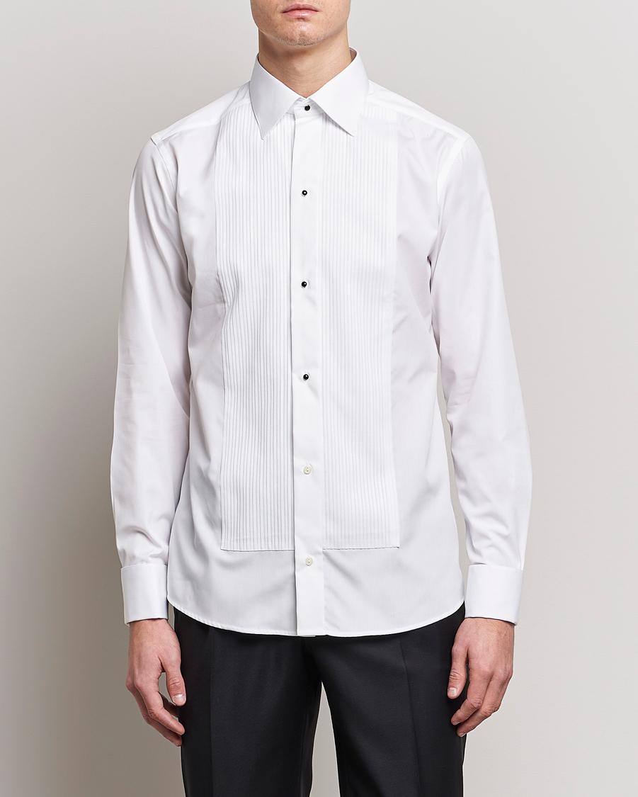 Eton slim fit tuxedo shirt black ribbon white hos for Trim fit tuxedo shirt