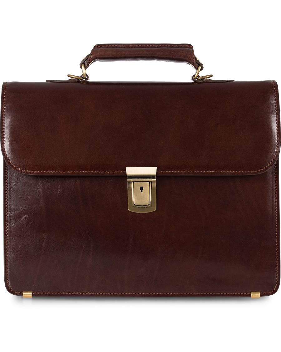 Baron Väskor Stockholm : Baron small briefcase brown leather hos careofcarl