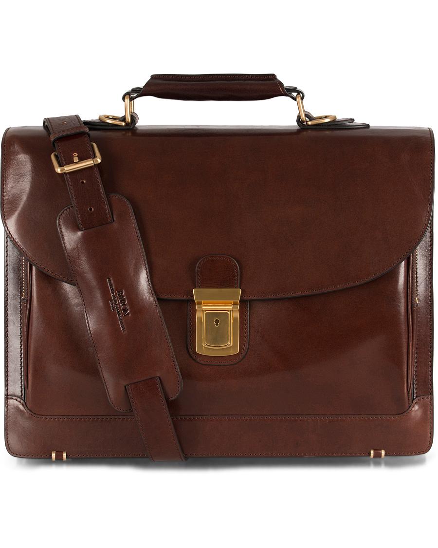 Baron Väskor Stockholm : Baron classic briefcase brown leather hos careofcarl