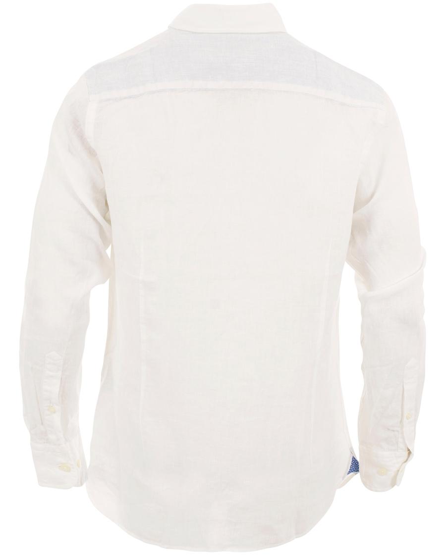 Hackett Solid Linen Shirt Slim Fit White Hos