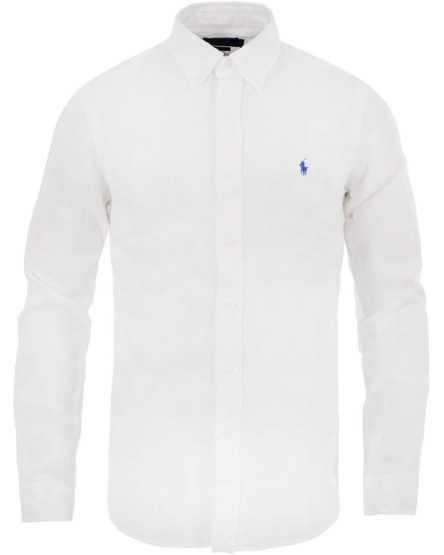 Polo ralph lauren slim fit linen shirt white hos for Slim fit white linen shirt