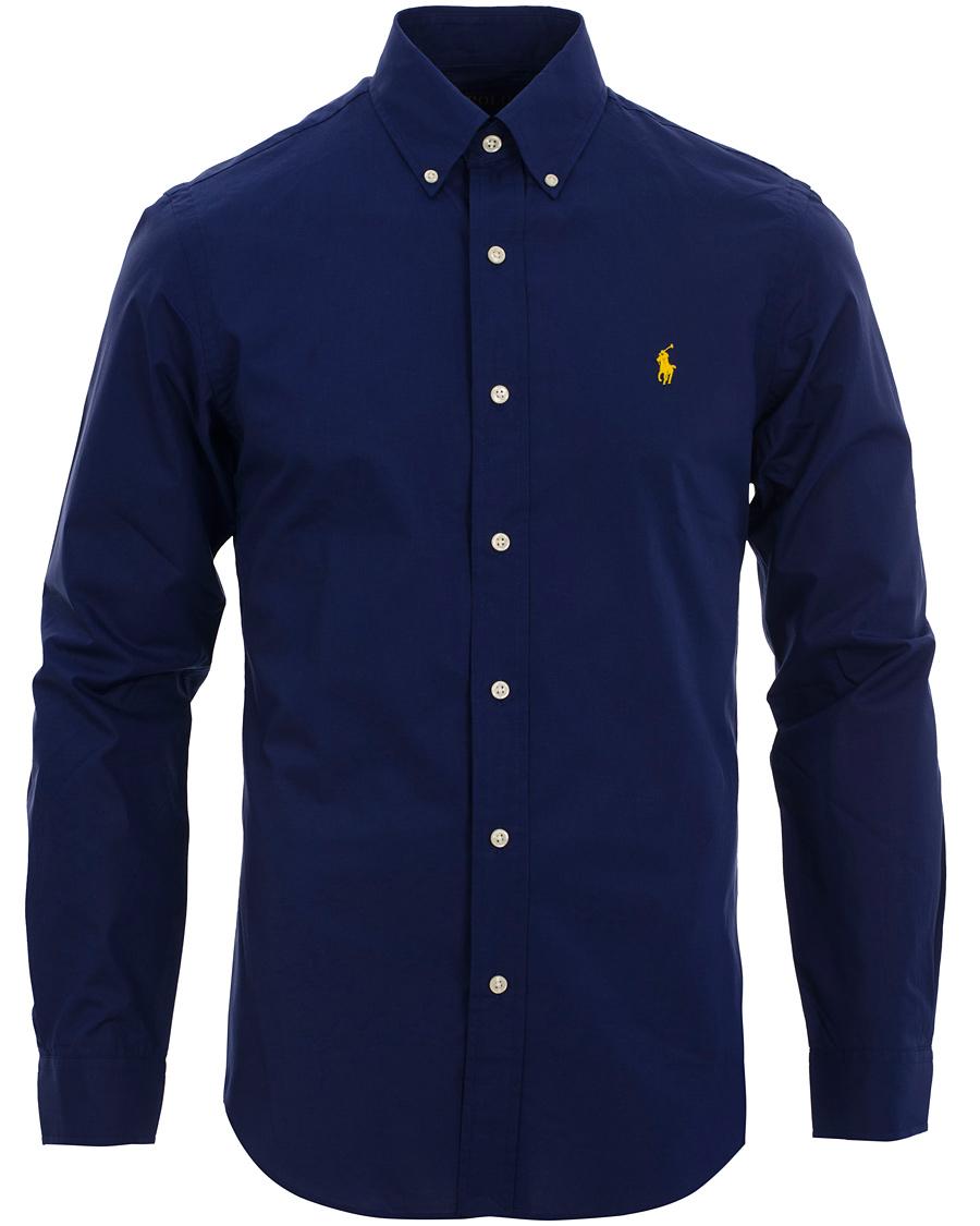 Polo ralph lauren slim fit poplin shirt soho navy hos for Navy slim fit shirt