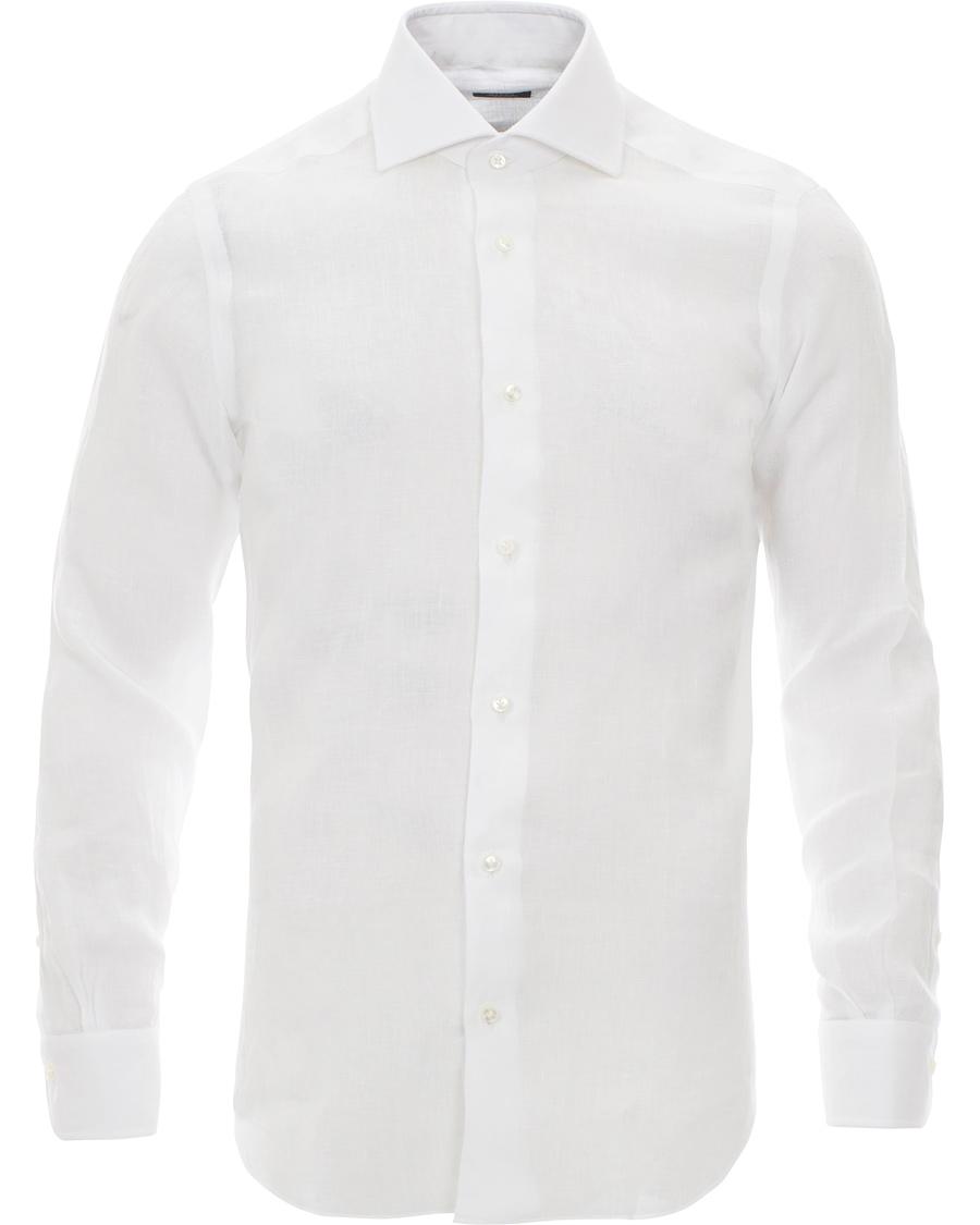 Barba napoli blue label linen slim fit shirt white hos for Slim fit white linen shirt