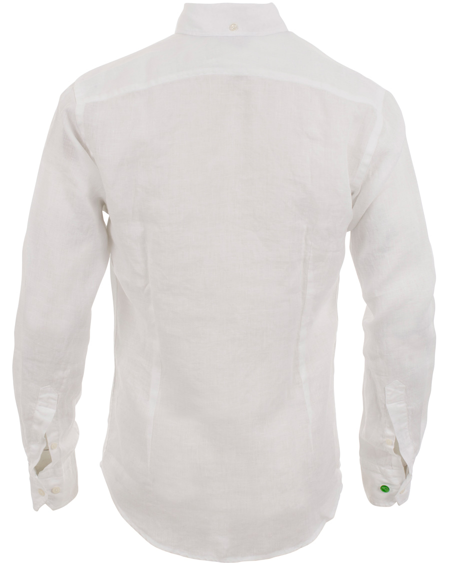 Eton Slim Fit Shirt Green Ribbon Linen White Hos