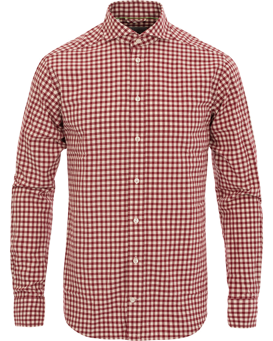 Eton slim fit shirt green ribbon check red hos for Red and green checked shirt