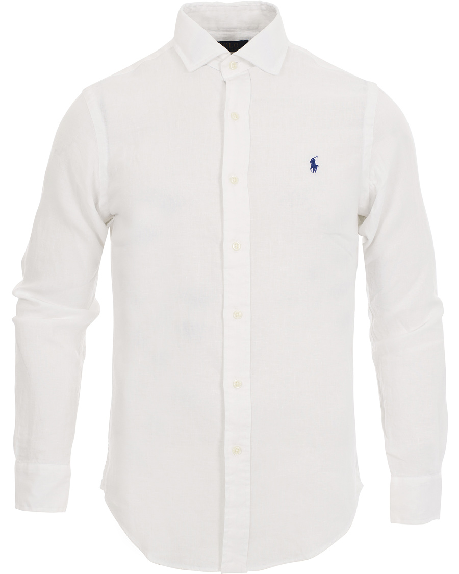 Polo ralph lauren slim fit estate linen shirt white hos for Slim fit white linen shirt