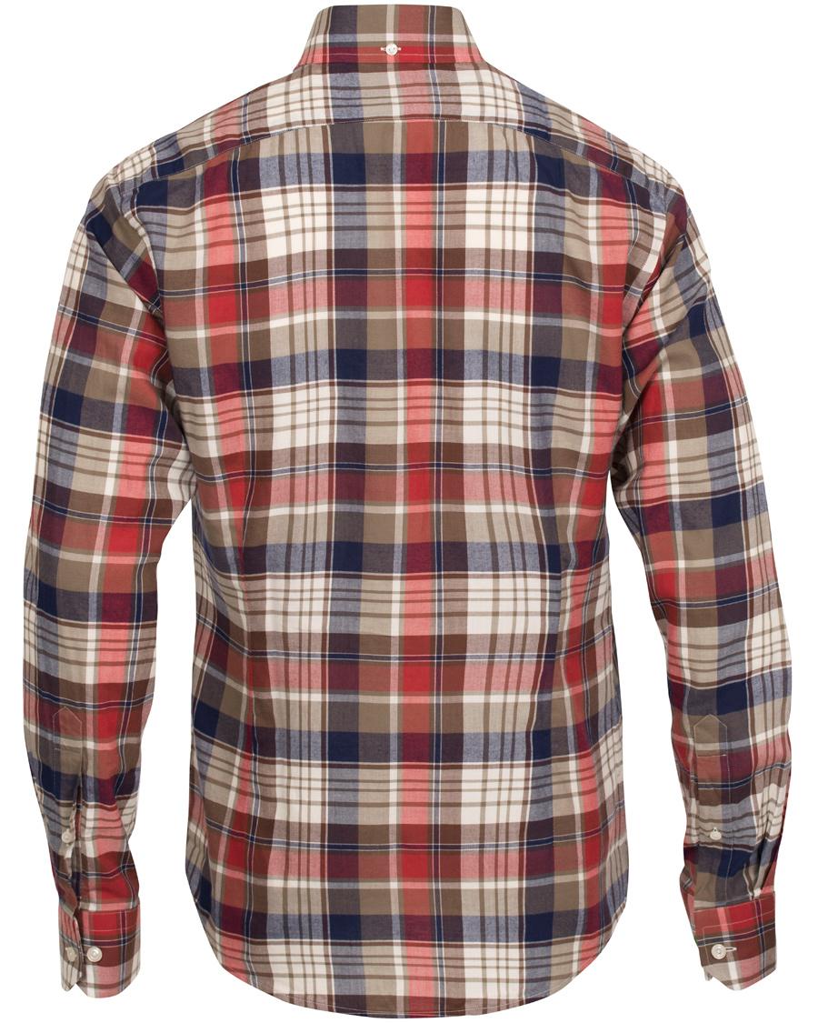 Eton slim fit shirt green ribbon flannel red hos for Trim fit flannel shirts