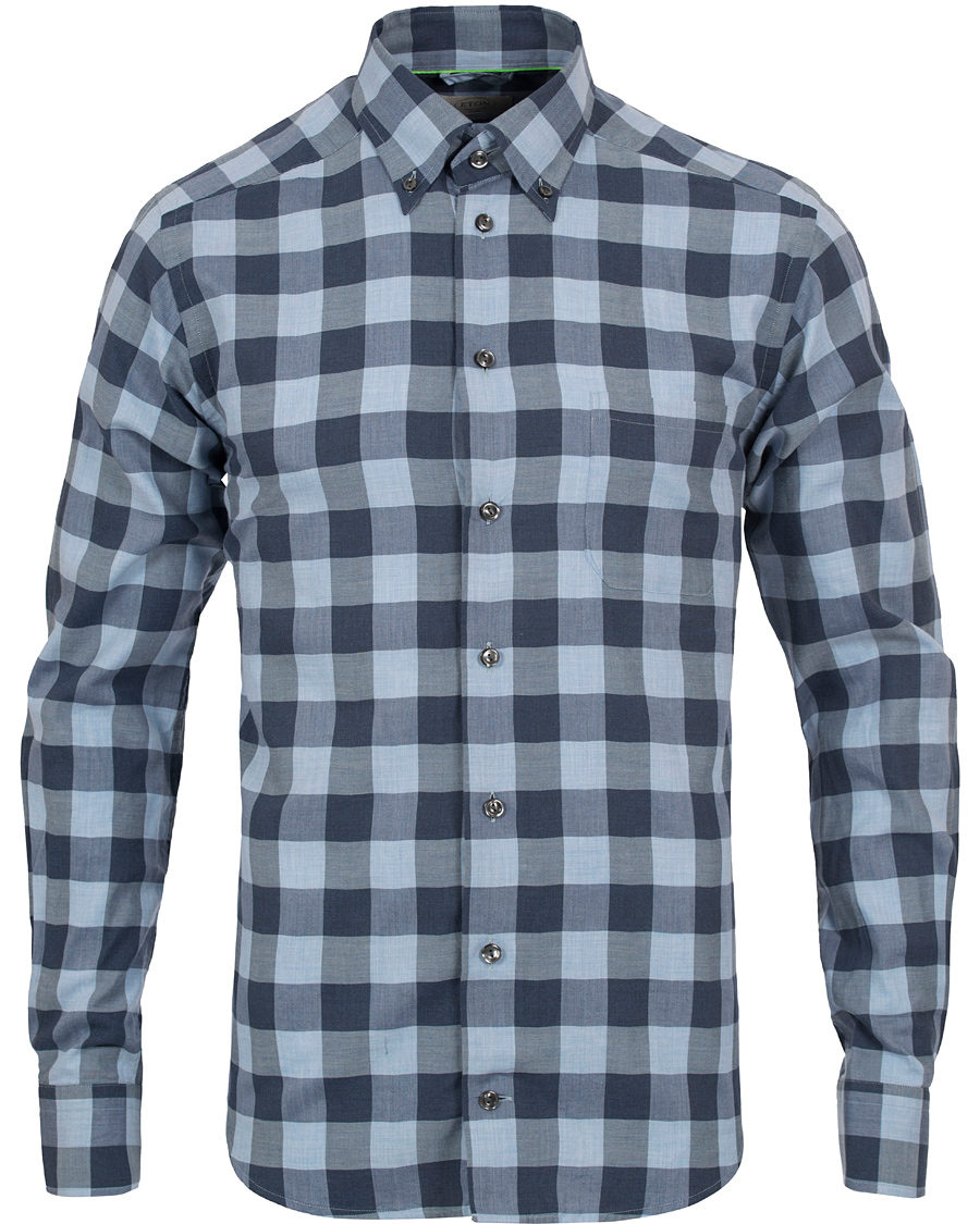 Eton slim fit shirt green ribbon check flannel blue hos for Trim fit flannel shirts