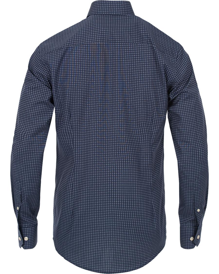 Eton slim fit red ribbon medallion shirt navy hos for Navy slim fit shirt