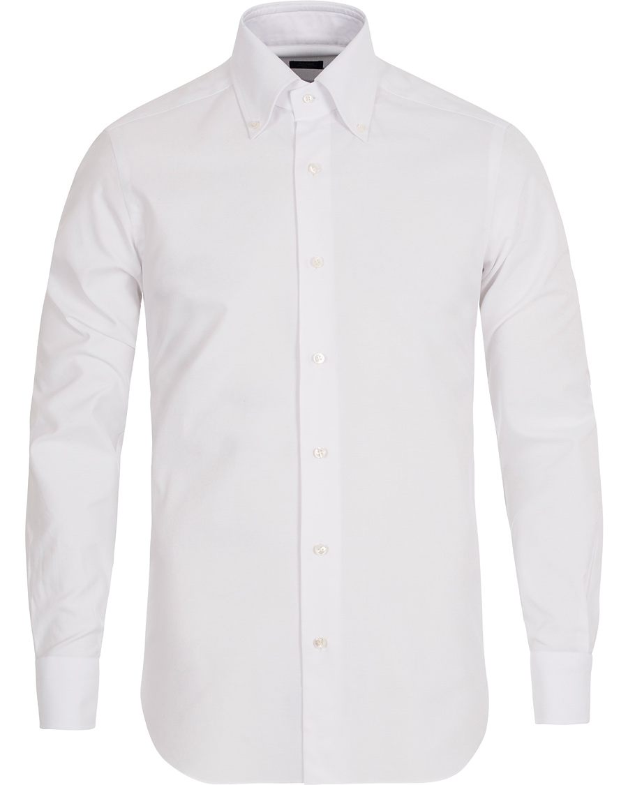 Barba napoli slim fit button down oxford shirt white hos for Athletic fit button down shirts