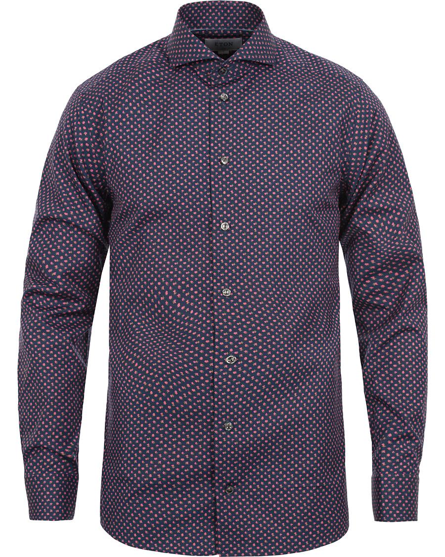 Eton slim fit red ribbon printed shirt navy hos for Navy slim fit shirt